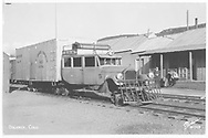 """RGS Goose #5 southbound with Dolores warehouse in background.<br /> RGS  Dolores, CO  Taken by Sanborn, Harold - ca. 1939<br /> In book """"Southern, The: A Narrow Gauge Odyssey"""" page 29<br /> Also in """"RGS Story, The Vol. VII"""", p. 133 and """"RGS Story Vol. XII"""", p. 199.<br /> Same as RD153-098."""