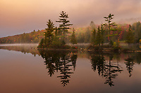 Foggy autumn sunrise and reflections on Ricker Pond, Groton State Forest, Groton, VT