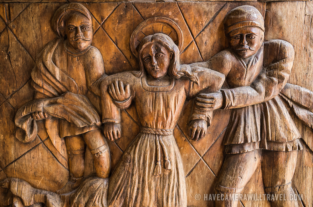 Part of the heavy carved wooden doors at the the Iglesia de Santa Ines (Church of Saint Agnes) in the historic Centro Historico district of downtown Mexico City, Mexico.