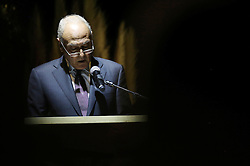 November 9, 2016 - Ramallah, West Bank, Palestinian Territory - Ahmed Aboul Gheit, Secretary-General of the Arab League delivers a speech during the inauguration ceremony of late Palestinian leader Yasser Arafat's Museum in the West Bank city of Ramallah on November 9, 2016. The Yasser Arafat Museum opened in Ramallah, shedding light on the long-time Palestinian leader's life and offering a glimpse of history -- along with a number of his trademark black-and-white keffiyehs  (Credit Image: © Shadi Hatem/APA Images via ZUMA Wire)