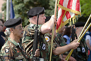 Town of Wallkill, NY - A Vietnam Veterans of America color guard wearing camouflage uniforms stands at attention during a  Memorial Day ceremony on May 25, 2009.