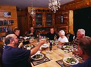 Dinner toast, Bob Griffin, Patty Park, Dan Dowd, Carl Dixon, Brian Dowd, Madeleine Kamman, Alan Kamman and Tom Dowd, Winterlake Lodge, Alaska.  (MR)