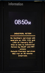 © Licensed to London News Pictures. 10/01/2017. London, UK. A sign announces passenger information at Victoria Station as a second round of strikes by Southern Rail train drivers starts. Photo credit: Peter Macdiarmid/LNP