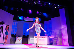 WAG ! The Musical <br /> at the Charing Cross Theatre, London, Great Britain <br /> Press photocell<br /> 17th July 2013 <br /> <br /> Tim Flavin as Mr Frank <br /> <br /> Lizzie Cundy as Zoe<br /> <br /> Amy Scott as Sharron <br /> <br /> Daisy Woods Davis as Jenny <br /> <br /> Nia Jermin as Charmaine<br /> <br /> <br /> Photograph by Elliott Franks