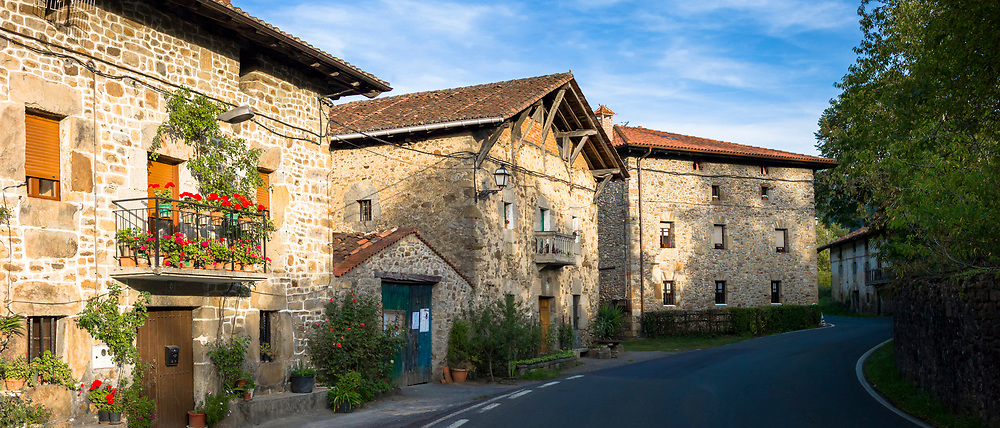 Traditional old Basque homesteads architecture in Zubialde in the Biskaia Basque region of Northern Spain