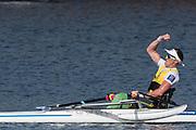 Sarasota. Florida USA.AUS PR1X. Erick HORRIE, celebartes after crossing the finishing line. Sunday Final's Day at the  2017 World Rowing Championships, Nathan Benderson Park<br /> <br /> Sunday  01.10.17   <br /> <br /> [Mandatory Credit. Peter SPURRIER/Intersport Images].<br /> <br /> <br /> NIKON CORPORATION -  NIKON D500  lens  VR 500mm f/4G IF-ED mm. 200 ISO 1/1250/sec. f 7.1