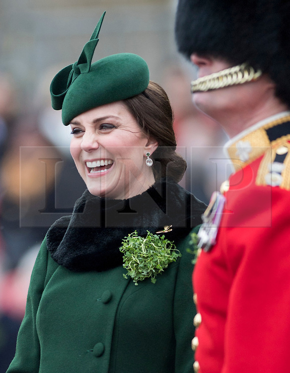 © London News Pictures. 17/03/2018. Hounslow, UK. THE DUKE AND DUCHESS OF CAMBRIDGE ATTEND THE IRISH GUARDSí ST PATRICK'S DAY PARADE. <br /> Photo credit: Sgt Rupert Frere/LNP