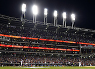 CLEVELAND, OH - OCTOBER 25: A general view of Progressive Field as Corey Kluber pitches and records a strike out during Game 1 of the 2016 World Series between the Chicago Cubs and the Cleveland Indianson Tuesday, October 25, 2016 in Cleveland, Ohio. (Photo by Ron Vesely/MLB Photos via Getty Images)