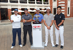 November 20, 2018 - Hong Kong, China - To officially kickstart the week of the HONMA Hong Kong Open,Sergio Garcia (L), Patrick Reed (2nd L),Wade Ormsby (M), Tommy Fleetwood (2nd R) and local golfer Steven Lam (R) stop for photos in the Tai Kwun heritage Centre Hong Kong (Credit Image: © Jayne Russell/ZUMA Wire)