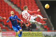 Alfie May tries a scissor kick during the EFL Sky Bet League 1 match between Doncaster Rovers and Rochdale at the Keepmoat Stadium, Doncaster, England on 1 January 2019.