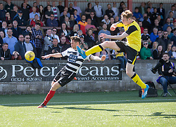 East Stirling's Chris Townsley and Edinburgh City's Mark McConnell. Edinburgh City became the first club to be promoted to Scottish League Two. East Stirling 0 v 1 Edinburgh City, League play-off game.