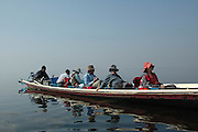 Myanmar Shan state Inle lake tourists on a local traditional fishing boat