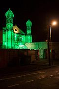 Minarets attached to the front of The Islamic Community Centre in Folkestone, Kent, United Kingdom. An art installation made from scaffolding green netting and lights by the Malaysian artist HoyCheong Wong as part fo the 2017 Folkestone Triennial Art show.