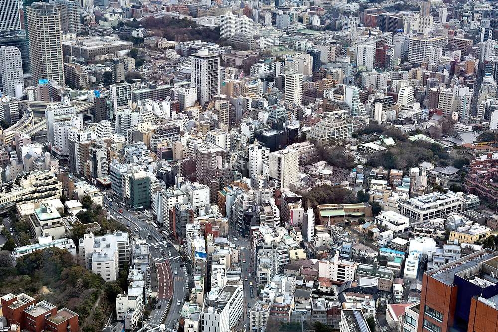 Tokyo dense cityscape aerial view from the direction of Roppongi Hills