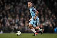 Pablo Zabaleta (Manchester City) passes the ball forward during the Champions League match between Manchester City and Celtic at the Etihad Stadium, Manchester, England on 6 December 2016. Photo by Mark P Doherty.