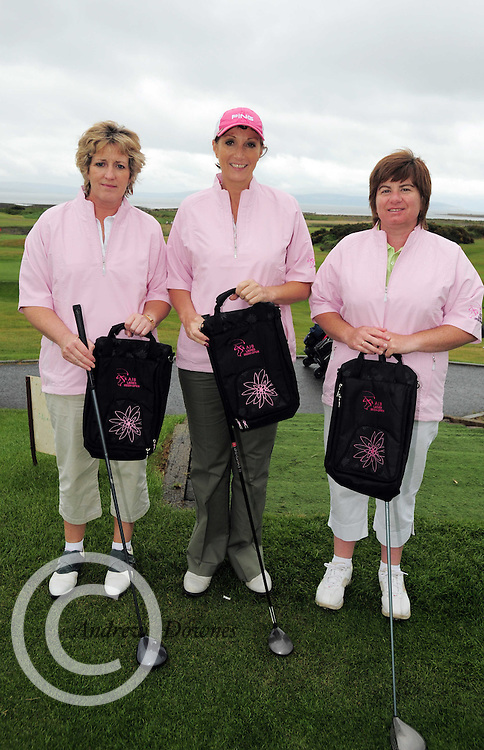 Maude Mahony Grace Collins, and Sharon Mooney from Loughrea Golf Club at the Galway Golf Club for the AIB Ladies Irish Open Club Challenge qualifier..Photo:Andrew Downes