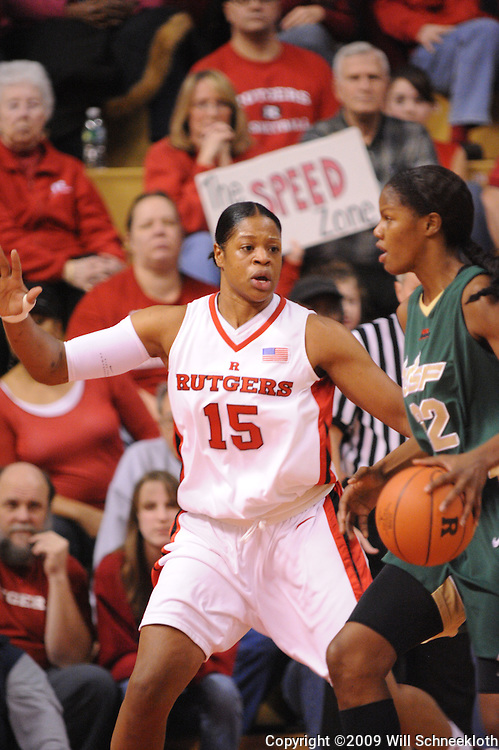 Jan 31, 2009; Piscataway, NJ, USA; Rutgers center Kia Vaughn (15) defends against South Florida center Brittany Denson (32) during the first half of South Florida's 59-56 victory over Rutgers in NCAA women's college basketball at the Louis Brown Athletic Center