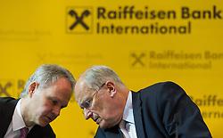 16.03.2016, RBI Zentrale, Wien, AUT, Raiffeisen Bank International, Pressekonferenz mit Präsentation des Jahresergebnis 2015, im Bild v.l.n.r. Finanzvorstand Martin Grüll und Vorstandsvorsitzender Karl Sevelda // f.l.t.r. CFO Martin Gruell and CEO Karl Sevelda during press conference of Raiffeisen Bank International according to annual balance of 2015 at RBI Headquarter in Vienna, Austria on 2016/03/16, EXPA Pictures © 2016, PhotoCredit: EXPA/ Michael Gruber
