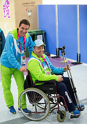 Bojan Ceru and Francek Gorazd Tirsek of Slovenia after the Men's R5-10m Air Rifle Prone shooting Qualifications during Day 4 of the Summer Paralympic Games London 2012 on September 1, 2012, in Royal Artillery Barracks, London, Great Britain. (Photo by Vid Ponikvar / Sportida.com)