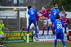 06MAR21 Queen of the South's Ayo Obileye scoring their first goal. half time : Arbroath 2 v 3 Queen of the South, Scottish Championship played 6/3/2021 at Arbroath's home ground, Gayfield Park.