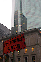 Construction area sign in Midtown Manhattan New York