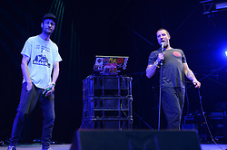 The Sleaford Mods performing on The Park Stage at the Glastonbury Festival, at Worthy Farm in Somerset.