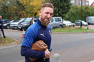 AFC Wimbledon midfielder Scott Wagstaff (7) arriving and winking during the The FA Cup match between AFC Wimbledon and Doncaster Rovers at the Cherry Red Records Stadium, Kingston, England on 9 November 2019.