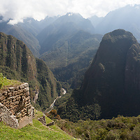 Partial view over the valley of Machu Picchu.