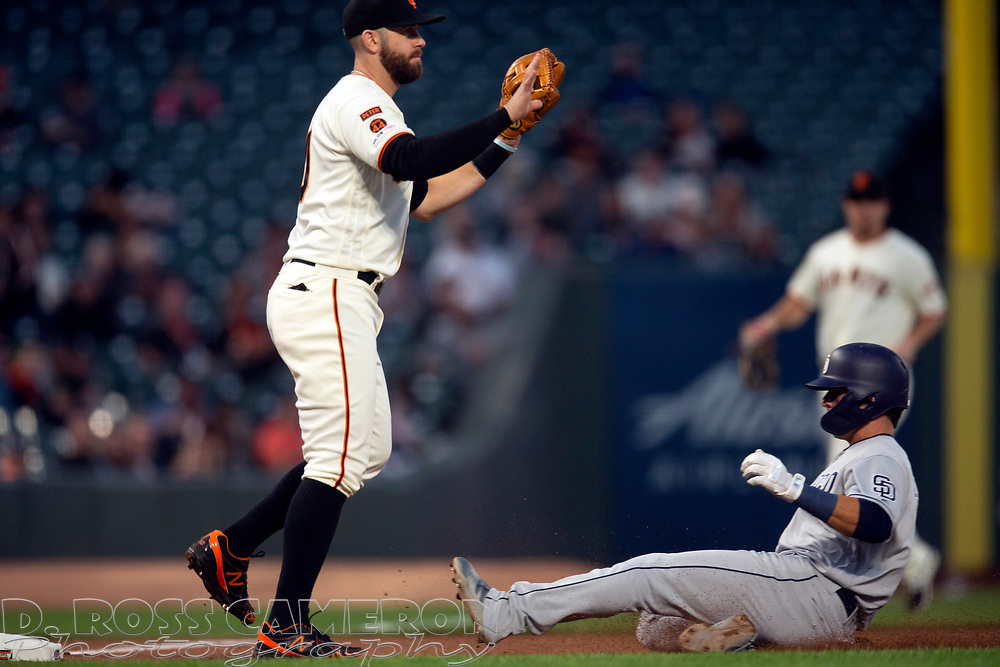 San Francisco Giants third baseman Evan Longoria, left, signals to hold the relay as San Diego Padres' Luis Urias slides safely into third with a triple during the fourth inning of a baseball game, Thursday, Aug. 29, 2019, in San Francisco. (AP Photo/D. Ross Cameron)