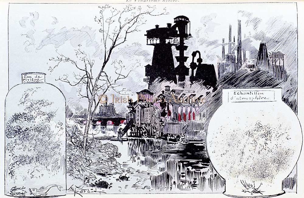 Environmental pollution  caused by heavy chemical industry, with birds and fishes struggling to survive. In late 19th century industrial pollution was a growing problem and in 'La Vie Electrique' Paris 1895 Robida guessed how things would be in the 20th c