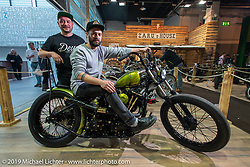 Simon Loretter (L) and Dominic Loretter of FW Factory Austria on their custom Shovelhead that received first place in the American Custom class at the Swiss-Moto Customizing and Tuning Show in Zurich, Switzerland. Sunday, February 24, 2019. Photography ©2019 Michael Lichter.