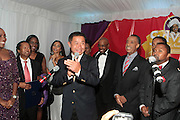 """September 18, 2012- Harlem, New York: (L-R) New York City Comptroller John Liu, Van Woods, Sylvia's Restaurant, Trenesse Wood-Black, Sylvia's Resturant, U.S. Congressman Charles Rangel and Rev. Al Sharpton attend Sylvia's Restaurant 50th Anniversary Golden Jubliee Gala celebrating the life and legacy of the late Sylvia Woods and held at Sylvia's Restaurant on September 18, 2012 in the Village of Harlem, USA. The 50th Anniversary Gala salutes Sylvia's as """"the world's kitchen"""" and celebrates a legend of the historic Harlem community. With an invite-only fundraising event for 500+ guests, the night kicked-off with a lavish cocktail hour and live performances from Sylvia's A-list guests, many of whom have made Sylvia's a home away from home for the past 5 decades.(Terrence Jennings)"""