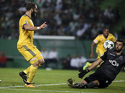 October 31, 2017 - Lisbon, Portugal - Juventus's forward Gonzalo Higuain scores a goal in front of Sporting's goalkeeper Rui Patricio during the Champions League  football match between Sporting CP and Juventus FC at Jose Alvalade  Stadium in Lisbon on October 31, 2017. (Credit Image: © Carlos Costa/NurPhoto via ZUMA Press)