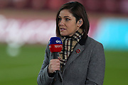 Eilidh Barbour from Sky Sports during the Scottish Premiership match between Motherwell and Celtic at Fir Park, Motherwell, Scotland on 8 November 2020.