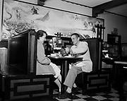 Y-541006A. Pagoda Restaurant interior October 5, 1954 (3839 NE Broadway)