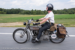 Paul Jung of Germ on his 1915 Harley-Davidson during the Motorcycle Cannonball Race of the Century. Stage-1 from Atlantic City, NJ to York, PA. USA. Saturday September 10, 2016. Photography ©2016 Michael Lichter.