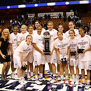 UConn after winning the final during the UConn Huskies Vs USF Bulls Basketball Final game at the American Athletic Conference Women's College Basketball Championships 2015 at Mohegan Sun Arena, Uncasville, Connecticut, USA. 9th March 2015. Photo Tim Clayton