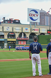 March 26, 2018 - Houston, TX, U.S. - HOUSTON, TX - MARCH 26: Houston Astros manager A.J. Hinch (14) stands for the National Anthem as a choir sings from shallow center field before the game between the Milwaukee Brewers and Houston Astros at Minute Maid Park on March 26, 2018 in Houston, Texas. (Photo by Ken Murray/Icon Sportswire) (Credit Image: © Ken Murray/Icon SMI via ZUMA Press)