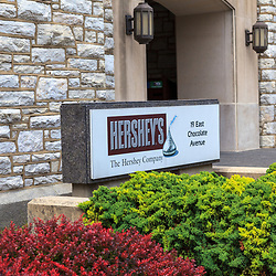 Hershey, PA, USA - June 6, 2011: Sign at the entrance of the Hershey Chocolate factory.
