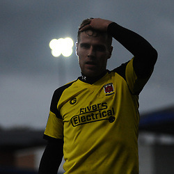 TELFORD COPYRIGHT MIKE SHERIDAN 13/10/2018 - Jake Cottrell reacts after Chorley concede a late equaliser during the Vanarama National League North fixture between AFC Telford United and Chorley