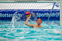 Milan de Koff of the Netherlands in action against Croatia during the Olympic qualifying tournament. The Dutch water polo players are on the hunt for a starting ticket for the Olympic Games on February 15, 2021 in Rotterdam