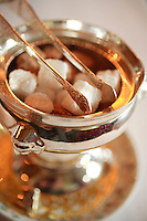 sugar with coffee at the Michelin three star Restaurant Grand Vefour in Palais Royale,.Paris Lunch at Le Grand vefour restaurant in Paris, Chef Guy Martin