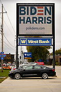 23 OCTOBER 2020 - DES MOINES, IOWA: An electronic Biden/Harris campaign sign in Des Moines. Although Donald Trump carried Iowa in 2016, Hillary Clinton won Des Moines and Polk County. Trump and Democratic challenger Joe Biden are statistically tied in Iowa, but Biden is expected to carry Polk County this year.      PHOTO BY JACK KURTZ