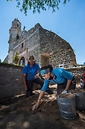 Mark DiOrio / Colgate University <br /> Emily Kahn '19, looks for artifacts in soil during a dig led by Kristin De Lucia, Assistant Professor of Anthropology, in San Miguel Jaltocan, Mexico, Jun. 23, 2017.