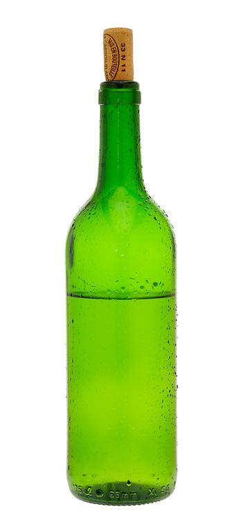 Half Empty Bottle of White Wine with Cork in
