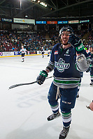 KELOWNA, CANADA - APRIL 25: Turner Ottenbreit #4 of the Seattle Thunderbirds skates to the bench to celebrate a goal against the Kelowna Rockets on April 25, 2017 at Prospera Place in Kelowna, British Columbia, Canada.  (Photo by Marissa Baecker/Shoot the Breeze)  *** Local Caption ***