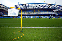 """19/10/2004<br />Chelsea press conference and training session - Stamford Bridge.<br />Chelsea's Stamford Bridge stadium displaying """"Please keep off the pitch"""" in Russian.<br />Photo:Jed Leicester/BPI (back page images)"""