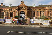 The quiet exterior of Carnegie Library in Herne Hill, south London while occupiers remain inside the premises on day 9 of its occupation, 8th April 2016. The angry local community in the south London borough have occupied their important resource for learning and social hub for the weekend. After a long campaign by locals, Lambeth have gone ahead and closed the library's doors for the last time because they say, cuts to their budget mean millions must be saved. (Photo by Richard Baker / In Pictures via Getty Images).
