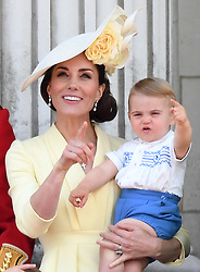 Members of The Royal Family attend Trooping the Colour at Buckingham Palace, London, UK, on the 8th June 2019. 08 Jun 2019 Pictured: Catherine, Duchess of Cambridge, Kate Middleton, Prince Louis. Photo credit: James Whatling / MEGA TheMegaAgency.com +1 888 505 6342