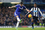 Gary Cahill of Chelsea kicks clear. Barclays Premier league match, Chelsea v Newcastle Utd at Stamford Bridge in London on Saturday 13th February 2016.<br /> pic by John Patrick Fletcher, Andrew Orchard sports photography.